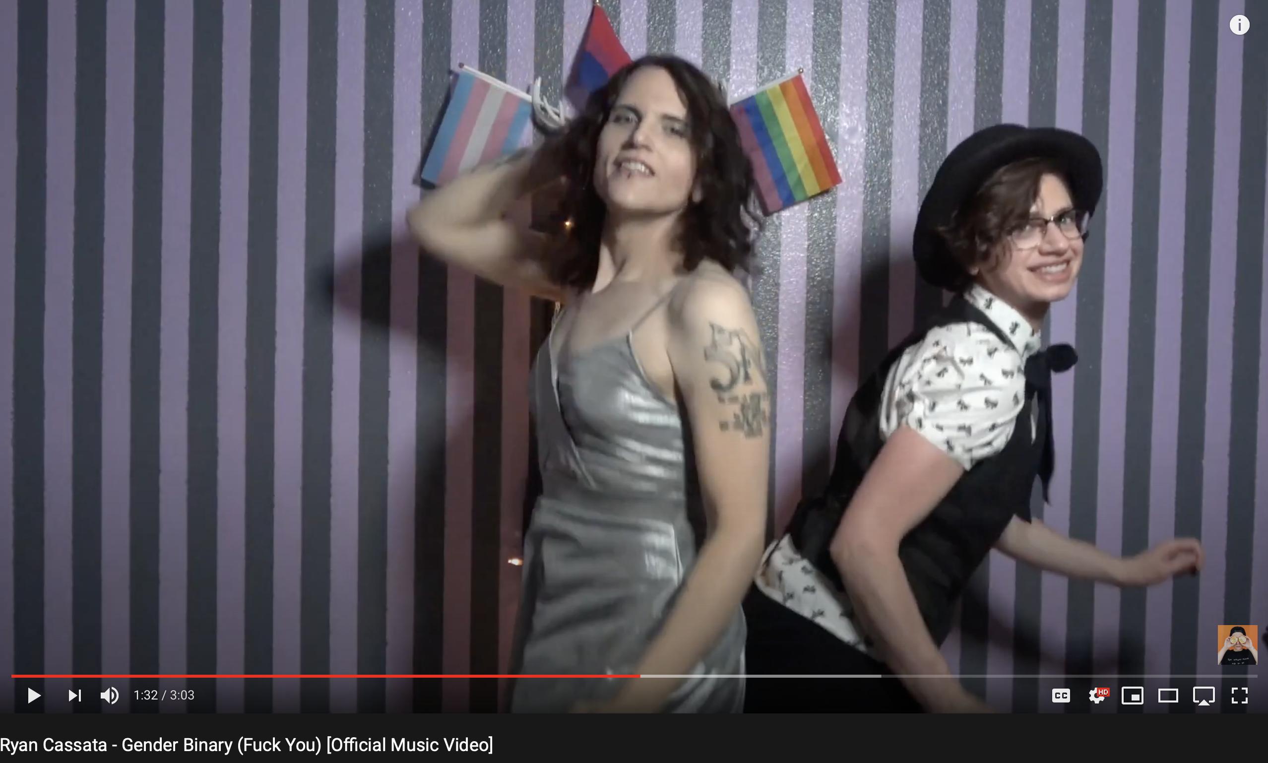 "Meika Grimm & Jack Grimm in Ryan Cassata's music video ""Gender Binary (Fuck You)"""